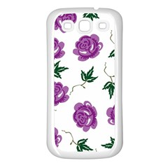 Purple Roses Pattern Wallpaper Background Seamless Design Illustration Samsung Galaxy S3 Back Case (White)