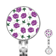 Purple Roses Pattern Wallpaper Background Seamless Design Illustration Stainless Steel Nurses Watch