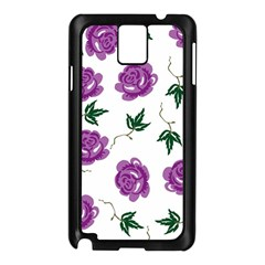 Purple Roses Pattern Wallpaper Background Seamless Design Illustration Samsung Galaxy Note 3 N9005 Case (black)