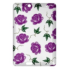 Purple Roses Pattern Wallpaper Background Seamless Design Illustration Amazon Kindle Fire Hd (2013) Hardshell Case