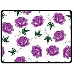 Purple Roses Pattern Wallpaper Background Seamless Design Illustration Double Sided Fleece Blanket (Large)