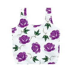 Purple Roses Pattern Wallpaper Background Seamless Design Illustration Full Print Recycle Bags (M)