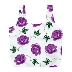Purple Roses Pattern Wallpaper Background Seamless Design Illustration Full Print Recycle Bags (L)