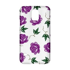 Purple Roses Pattern Wallpaper Background Seamless Design Illustration Samsung Galaxy S5 Hardshell Case