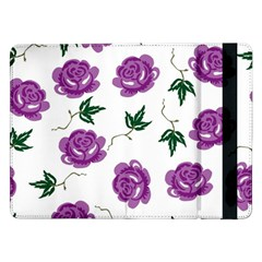 Purple Roses Pattern Wallpaper Background Seamless Design Illustration Samsung Galaxy Tab Pro 12 2  Flip Case