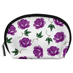 Purple Roses Pattern Wallpaper Background Seamless Design Illustration Accessory Pouches (large)