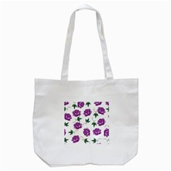 Purple Roses Pattern Wallpaper Background Seamless Design Illustration Tote Bag (White)