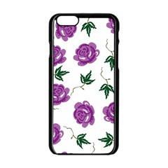 Purple Roses Pattern Wallpaper Background Seamless Design Illustration Apple Iphone 6/6s Black Enamel Case