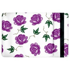 Purple Roses Pattern Wallpaper Background Seamless Design Illustration iPad Air 2 Flip
