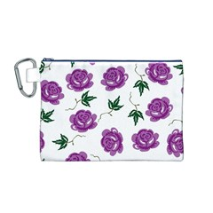 Purple Roses Pattern Wallpaper Background Seamless Design Illustration Canvas Cosmetic Bag (M)