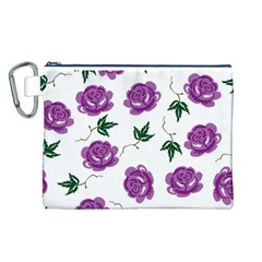 Purple Roses Pattern Wallpaper Background Seamless Design Illustration Canvas Cosmetic Bag (l)