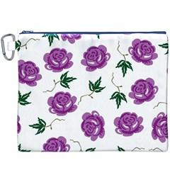 Purple Roses Pattern Wallpaper Background Seamless Design Illustration Canvas Cosmetic Bag (xxxl)