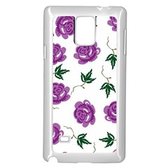 Purple Roses Pattern Wallpaper Background Seamless Design Illustration Samsung Galaxy Note 4 Case (White)