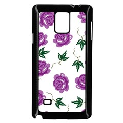 Purple Roses Pattern Wallpaper Background Seamless Design Illustration Samsung Galaxy Note 4 Case (Black)