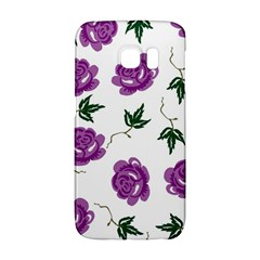 Purple Roses Pattern Wallpaper Background Seamless Design Illustration Galaxy S6 Edge