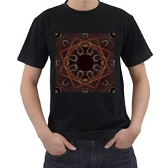 Digitally Created Seamless Pattern Men s T-Shirt (Black) (Two Sided)