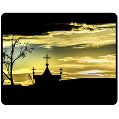 Graves At Side Of Road In Santa Cruz, Argentina Double Sided Fleece Blanket (Medium)