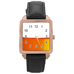 The Wine Bubbles Background Rose Gold Leather Watch
