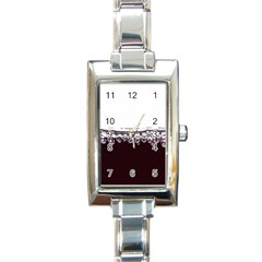 Bubbles In Red Wine Rectangle Italian Charm Watch
