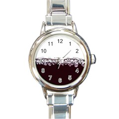 Bubbles In Red Wine Round Italian Charm Watch