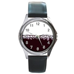 Bubbles In Red Wine Round Metal Watch