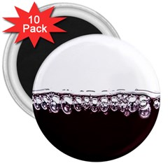 Bubbles In Red Wine 3  Magnets (10 Pack)