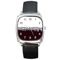 Bubbles In Red Wine Square Metal Watch