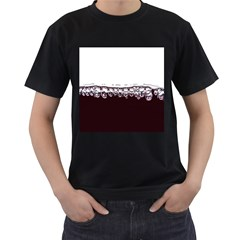 Bubbles In Red Wine Men s T-Shirt (Black) (Two Sided)