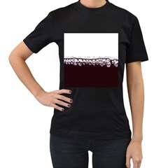 Bubbles In Red Wine Women s T-Shirt (Black) (Two Sided)