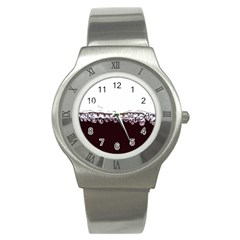 Bubbles In Red Wine Stainless Steel Watch
