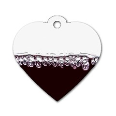 Bubbles In Red Wine Dog Tag Heart (One Side)