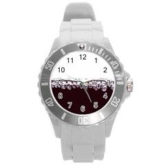 Bubbles In Red Wine Round Plastic Sport Watch (l)