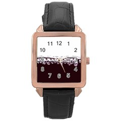 Bubbles In Red Wine Rose Gold Leather Watch