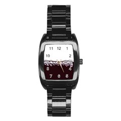 Bubbles In Red Wine Stainless Steel Barrel Watch