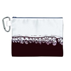 Bubbles In Red Wine Canvas Cosmetic Bag (L)