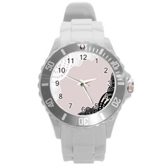 Circles Background Round Plastic Sport Watch (L)
