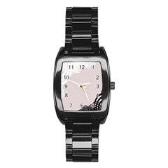 Circles Background Stainless Steel Barrel Watch
