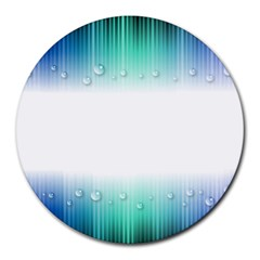 Blue Stripe With Water Droplets Round Mousepads