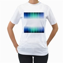 Blue Stripe With Water Droplets Women s T Shirt (white) (two Sided)