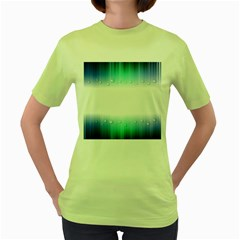 Blue Stripe With Water Droplets Women s Green T-Shirt