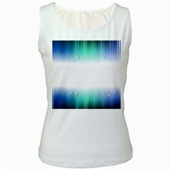 Blue Stripe With Water Droplets Women s White Tank Top