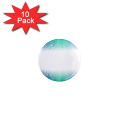 Blue Stripe With Water Droplets 1  Mini Magnet (10 Pack)