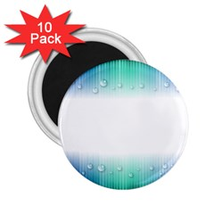 Blue Stripe With Water Droplets 2 25  Magnets (10 Pack)