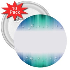 Blue Stripe With Water Droplets 3  Buttons (10 pack)