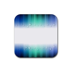 Blue Stripe With Water Droplets Rubber Coaster (square)