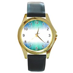 Blue Stripe With Water Droplets Round Gold Metal Watch