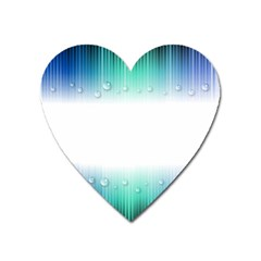 Blue Stripe With Water Droplets Heart Magnet