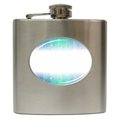 Blue Stripe With Water Droplets Hip Flask (6 Oz)