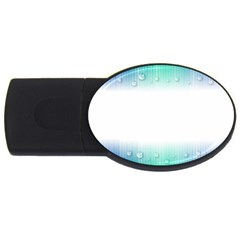 Blue Stripe With Water Droplets Usb Flash Drive Oval (2 Gb)