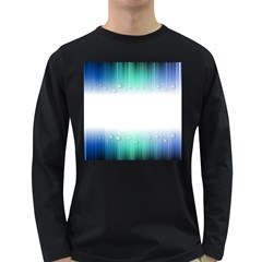 Blue Stripe With Water Droplets Long Sleeve Dark T Shirts